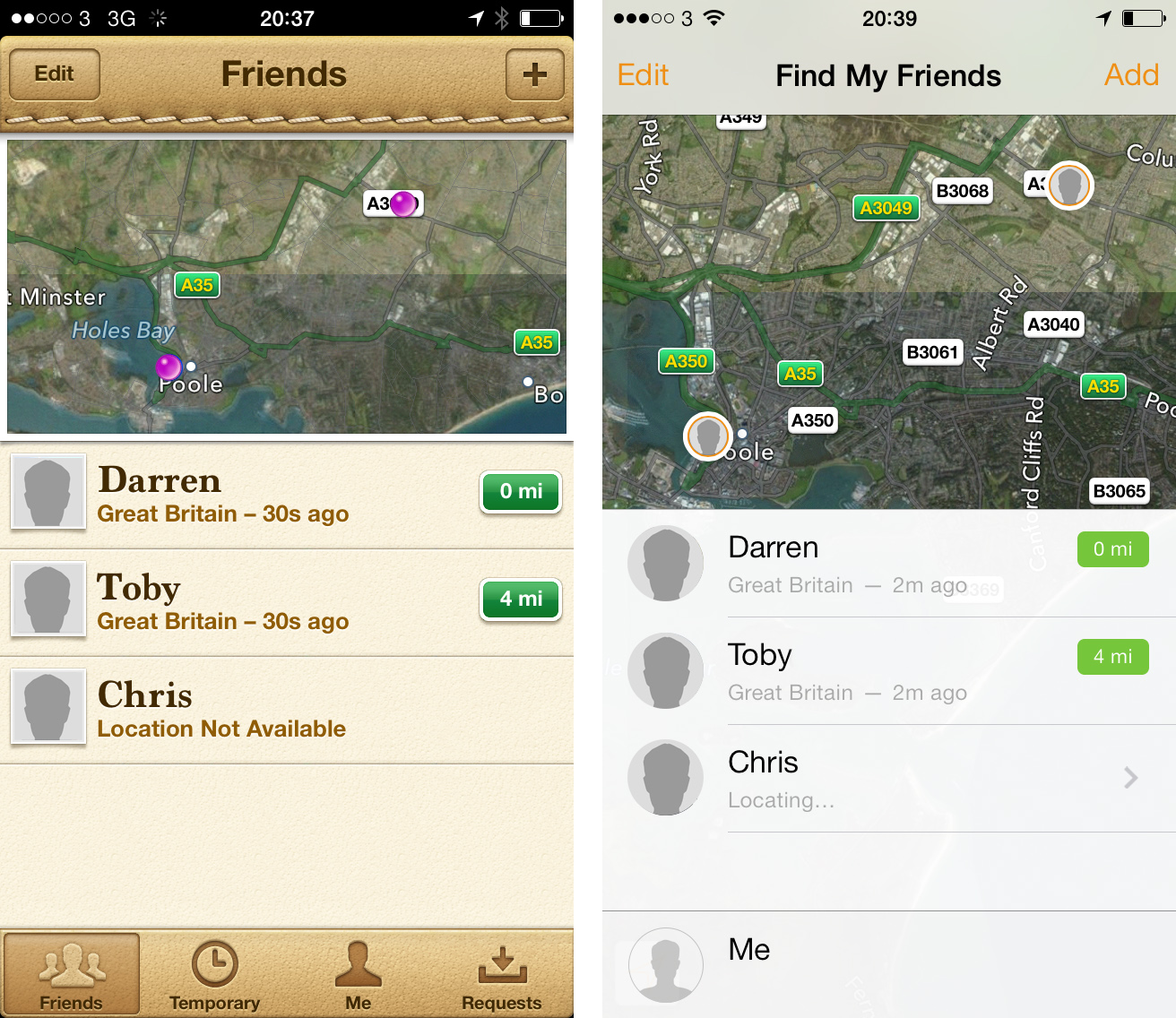 Find My Friends iOS 7 Comparison