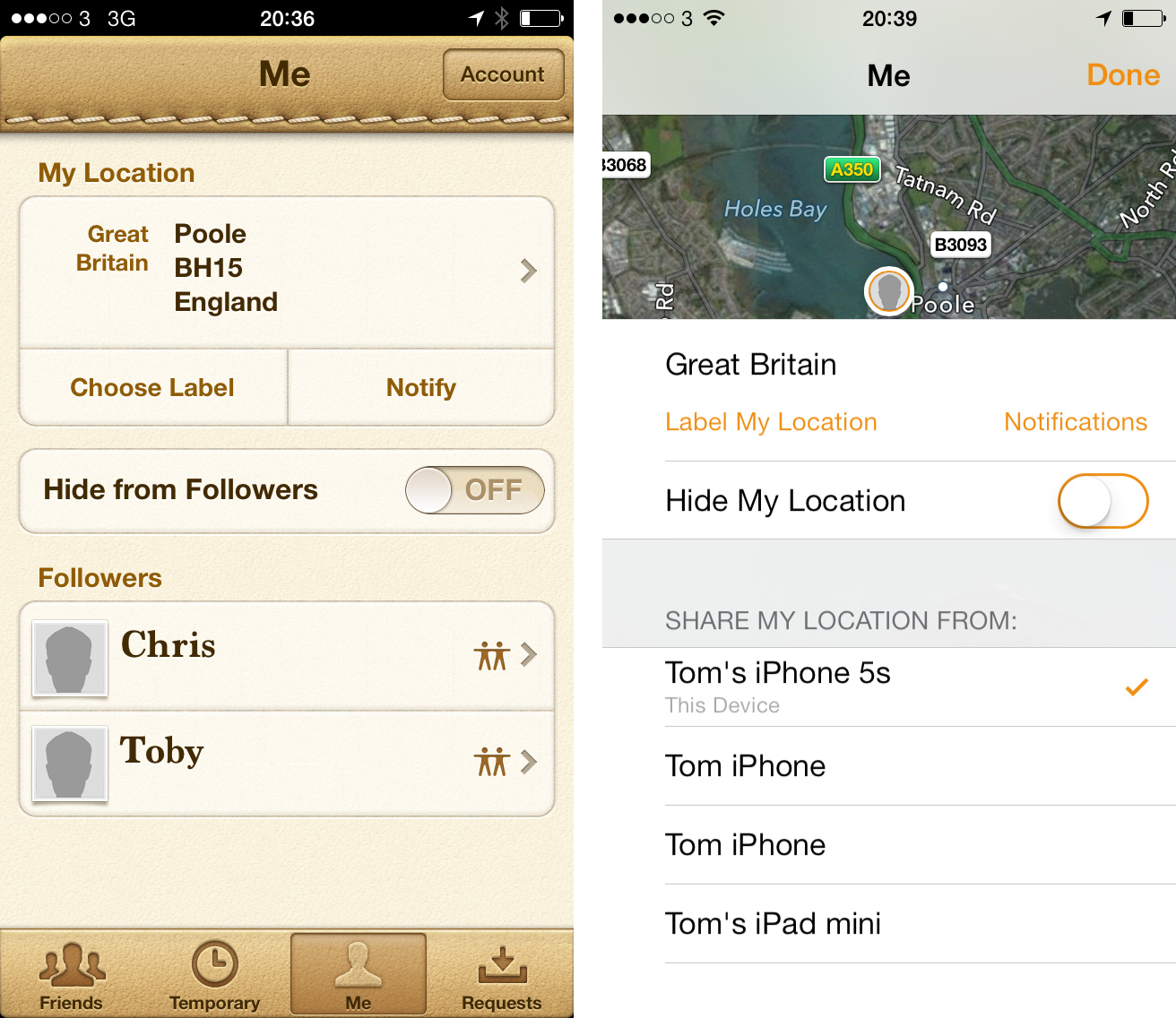 Find My Friends iOS 7 Me Comparison