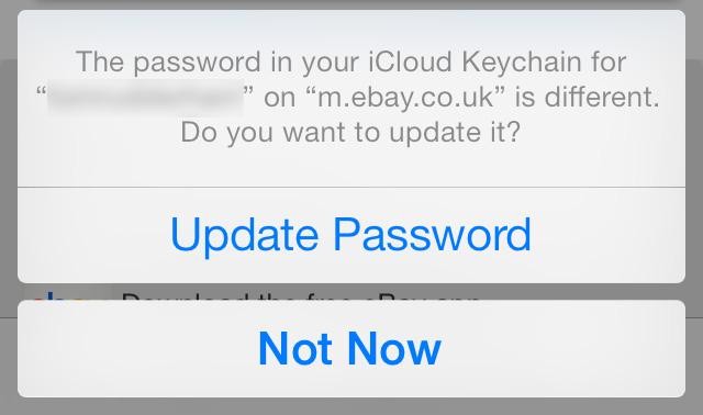 Update password in iCloud Keychain