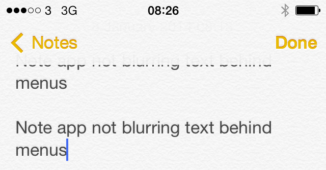 iOS 7 beta 3 Notes app text bug