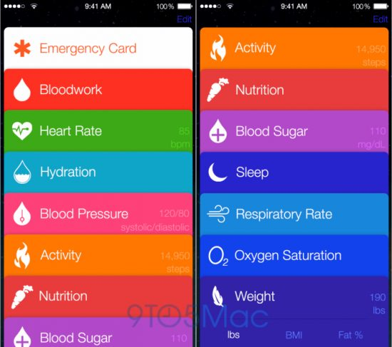 Apple Healthbook interface