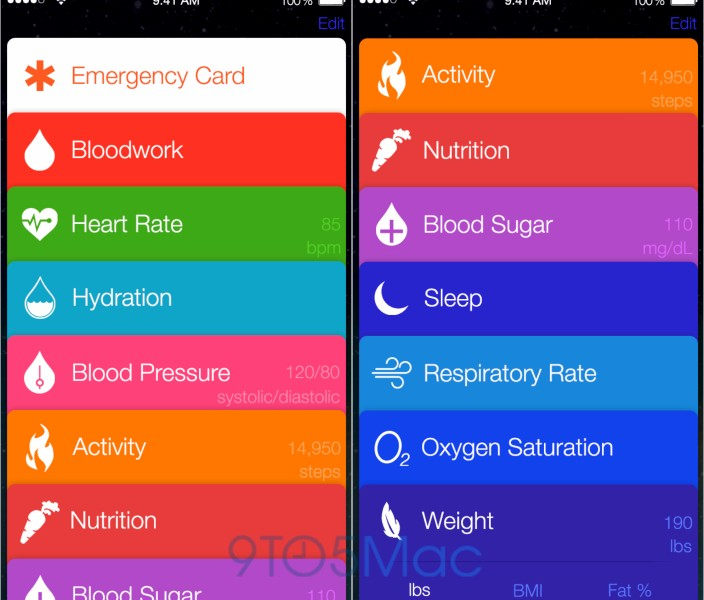 Apple Healthbook interface