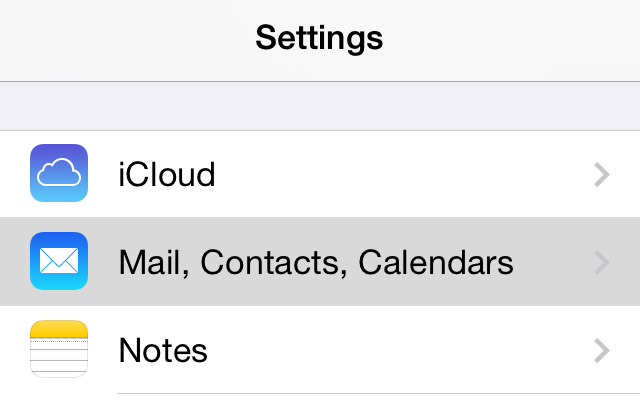 Settings app Mail option