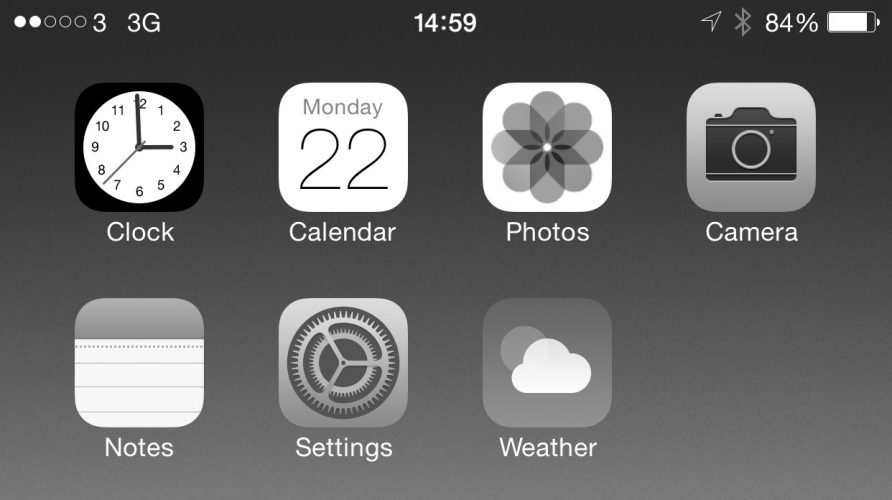 iOS iPhone black and white