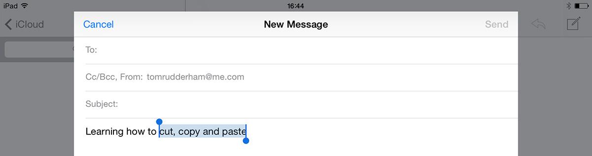 Select text on iPad