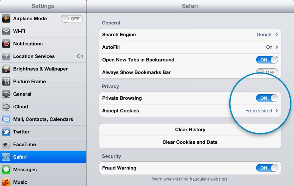 3. Private Browsing