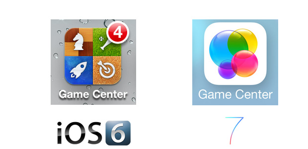 Game Center iOS 7 Icon Comparison