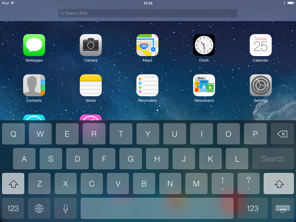 Keyboard and Search iOS 7 iPad
