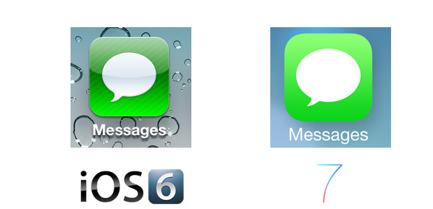 Messages iOS 7 Icon Comparison
