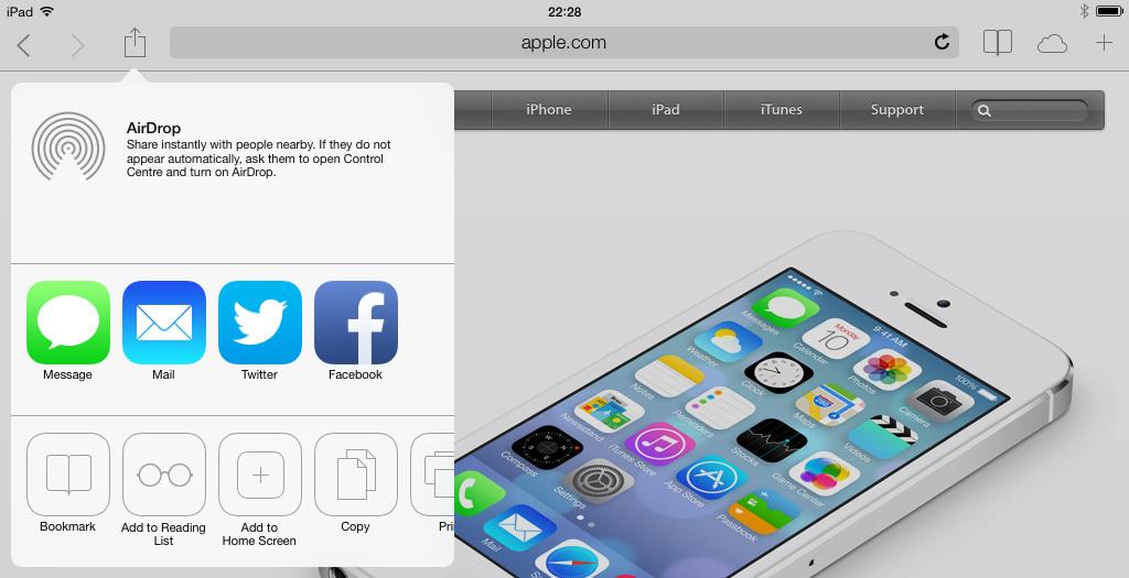 Share window iPad iOS 7
