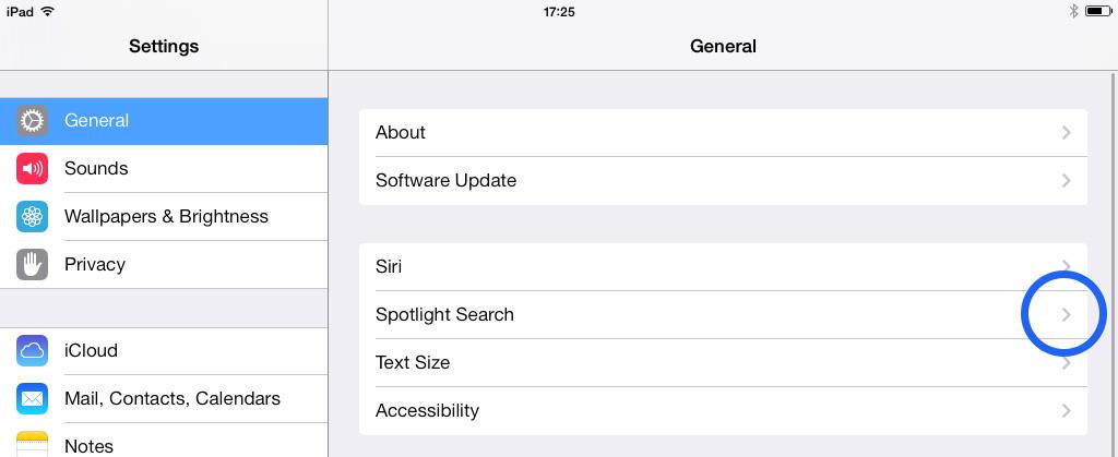 Spotlight iOS 7 Settings