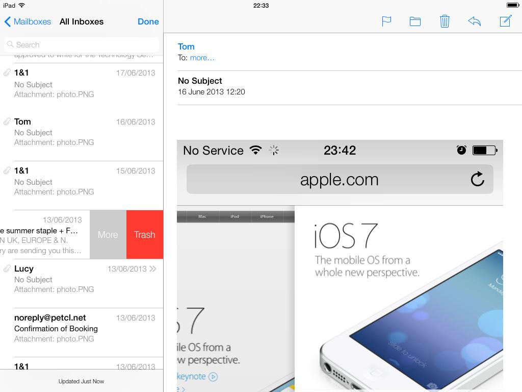 iOS 7 Mail app iPad