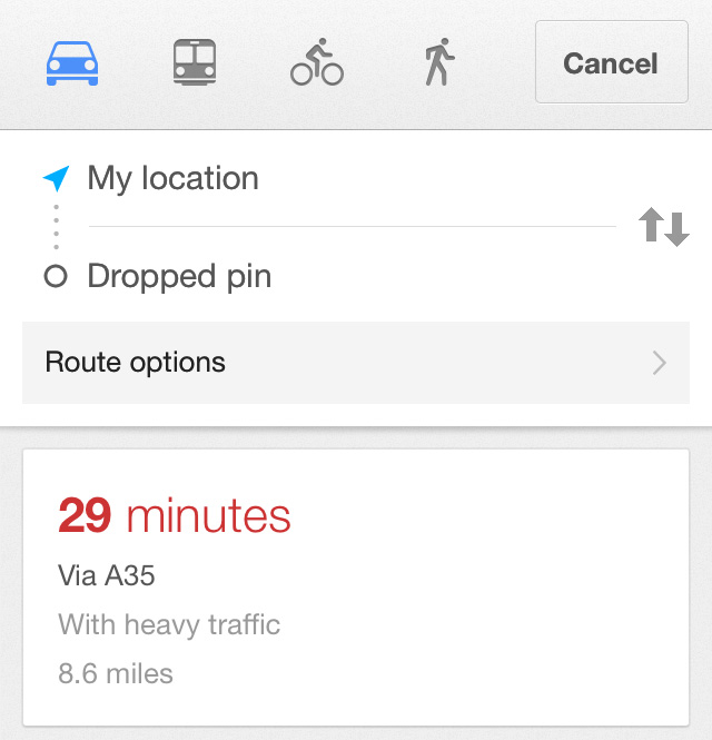 Google Maps Directions iPhone