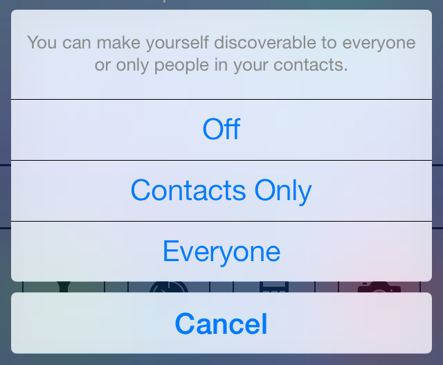 airdrop discoverable options