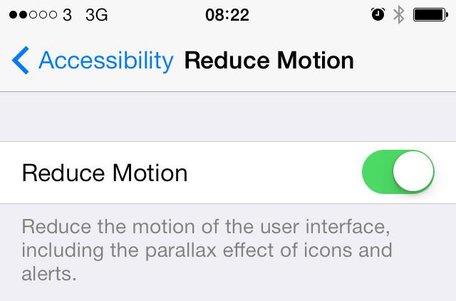 iOS 7 Reduce Motion setting