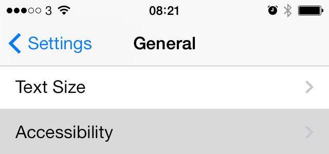 iOS 7 settings accessibility