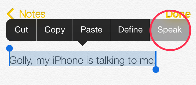 iPhone Speak out loud