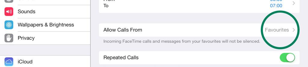 All Calls From Do Not Disturb iPad iOS 7