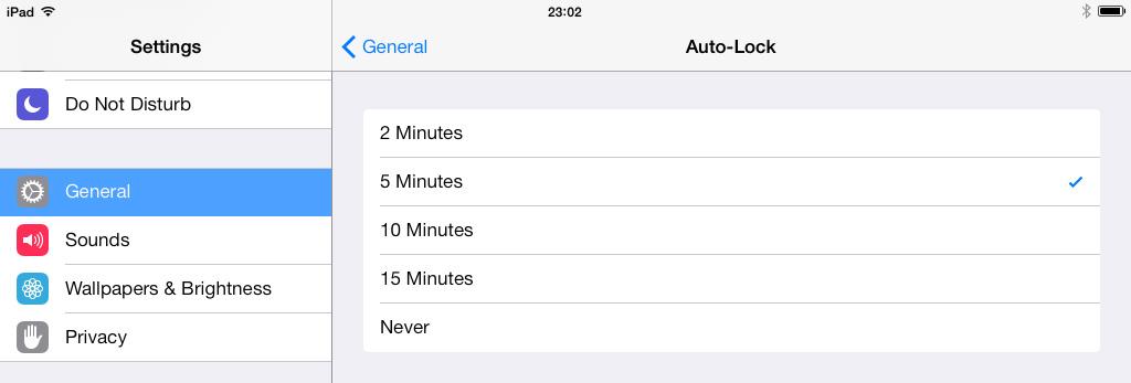 Auto Lock Settings iPad iOS 7