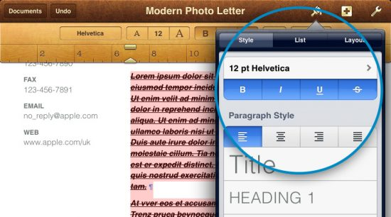 Bold Italic Underline text iPad Pages