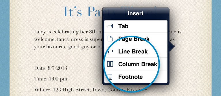 Column break in Pages for iPad iPhone
