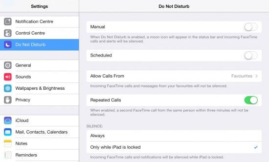 Do Not Disturb iPad iOS 7