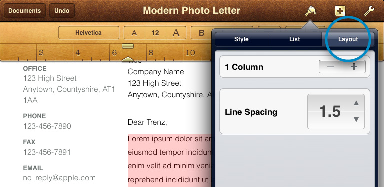 Line Spacing iPhone iPad Pages