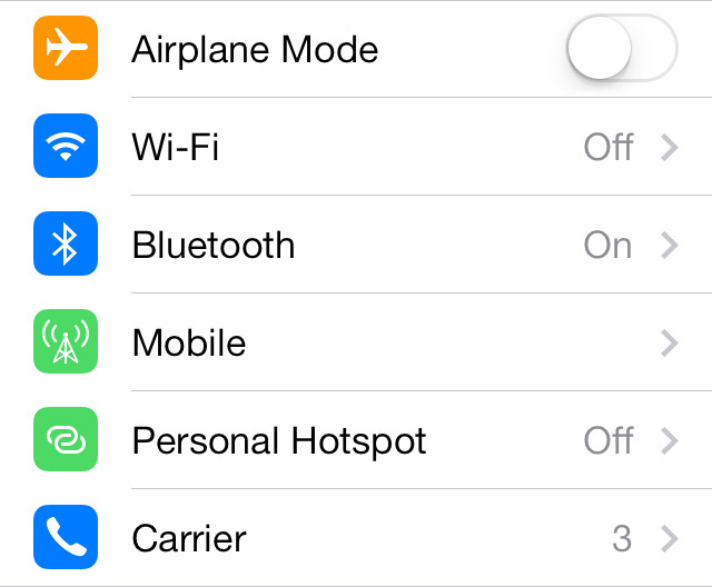 New Settings Icons in iOS 7