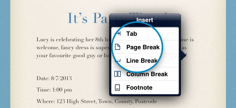 Page Break in Pages for iPad iPhone