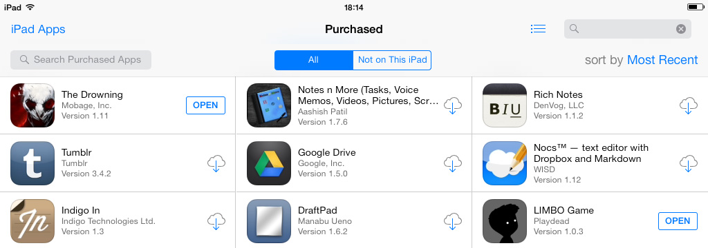 Purchased apps iCloud iOS 7