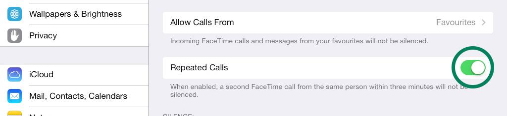 Repeat Calls Do Not Disturb iPad iOS 7