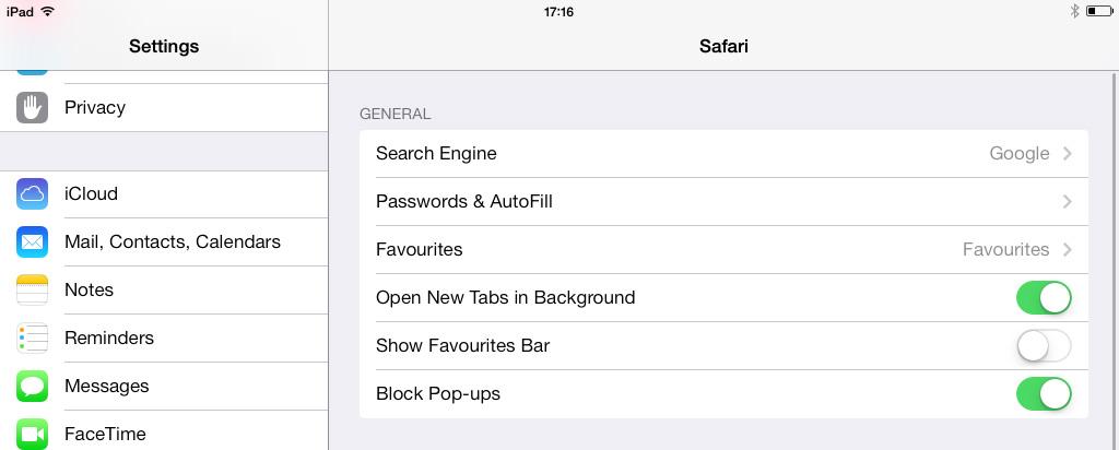 Safari Settings iPad iOS 7
