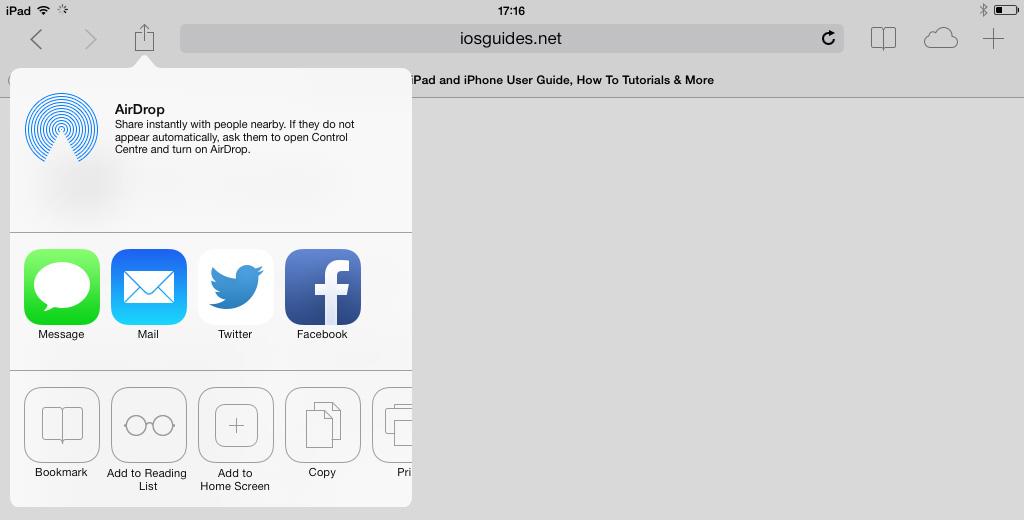 Safari Share iOS 7 iPad
