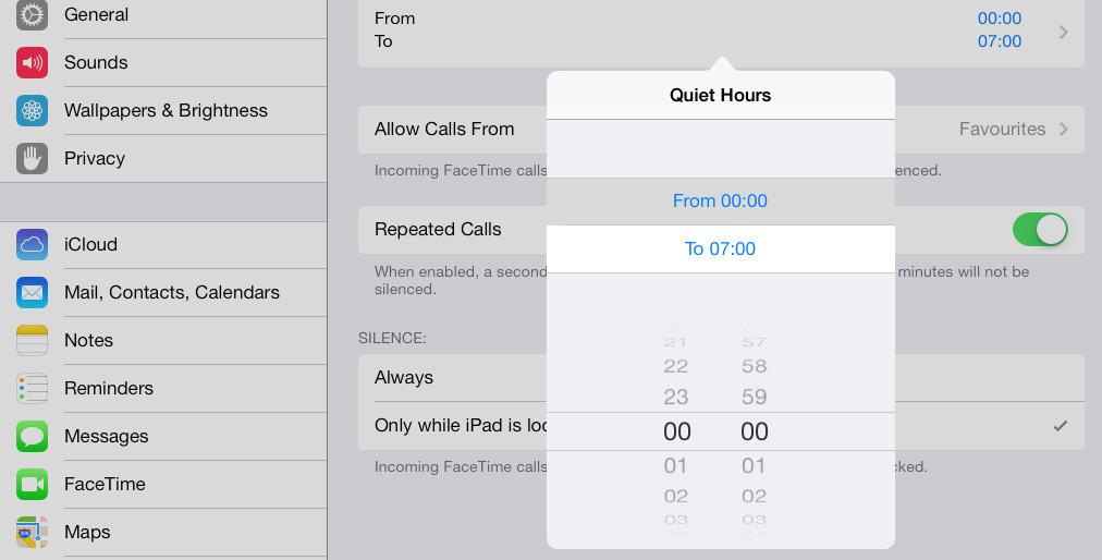 Schedule Do Not Disturb iPad iOS 7