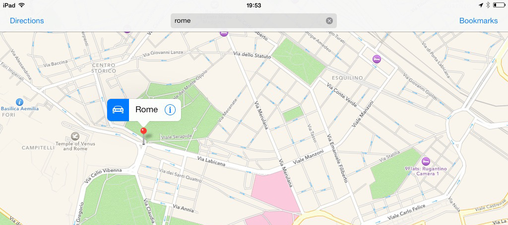 Search results in Maps app