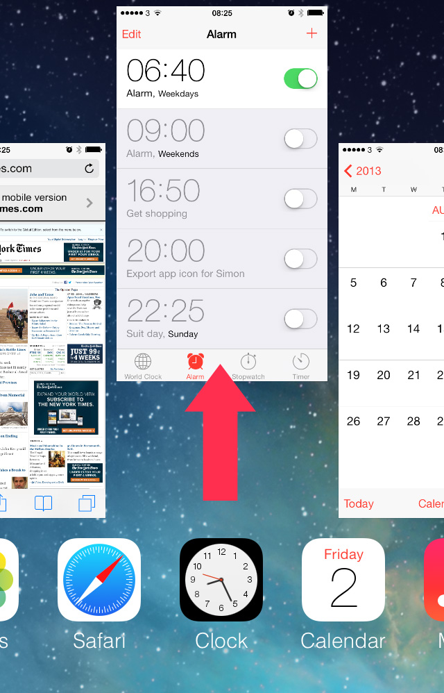 iOS 7 force quit reboot app