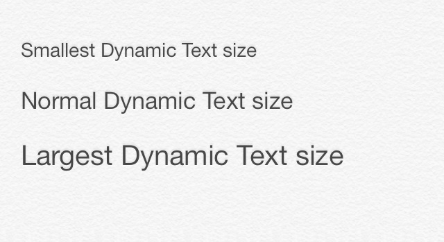 Featured Text Sizes on iOS 7