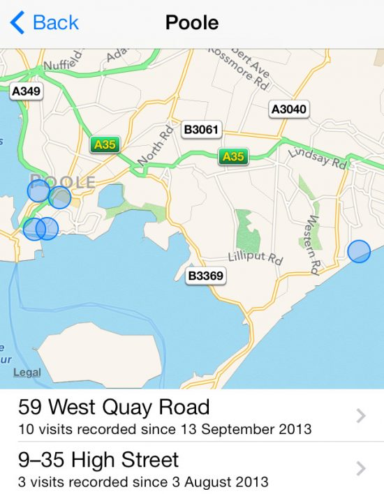 Frequent Locations Map iOS 7