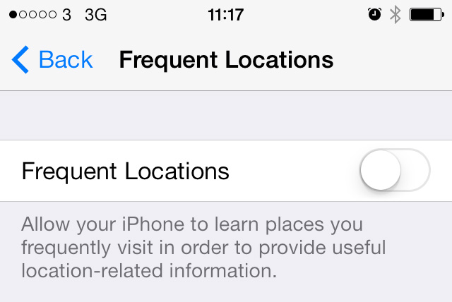 Frequent Locations off iOS 7