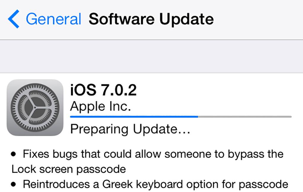 Installing update iOS 7