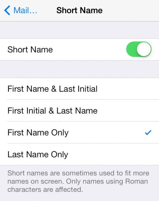 Short Names Settings iOS 7