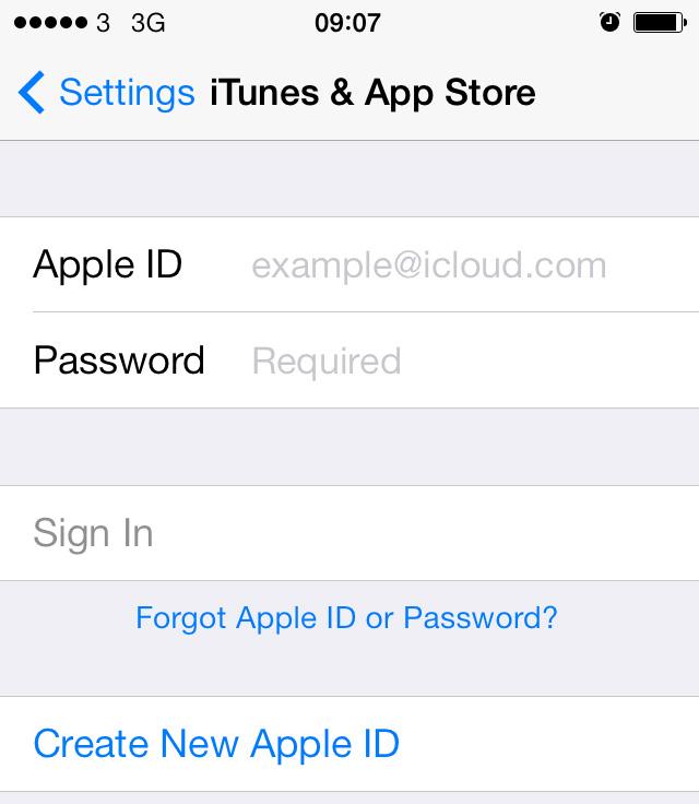 Sign into Apple ID iOS 7