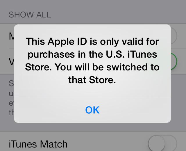 Valid in US iOS 7