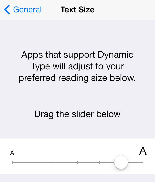 iOS 7 Text Size Dynamic Text setting