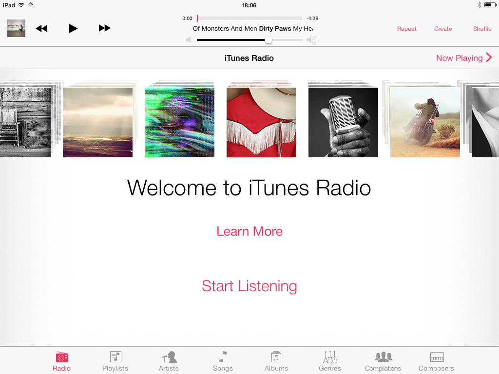 iTunes Radio Welcome iOS 7