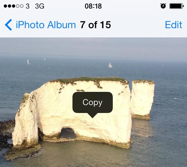 Copy photo iOS 7