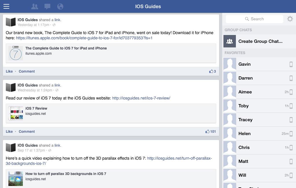 Facebook app iPad iOS 7
