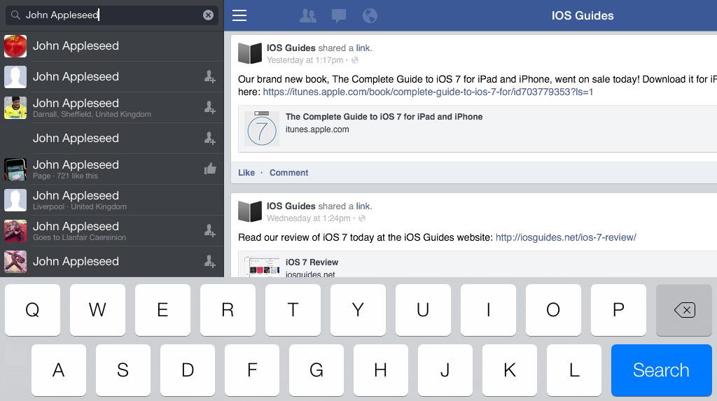 Facebook iPad search