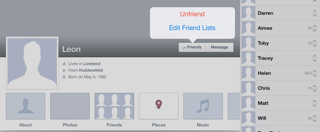 Unfriend Faceboook iPad