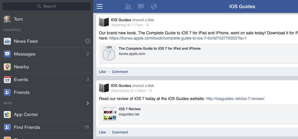 iPad Facebook app sidebar